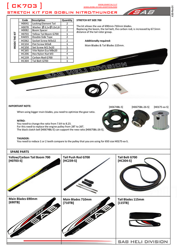 SAB STRETCH KIT auf 700 mm - Goblin BLACK THUNDER / NITRO